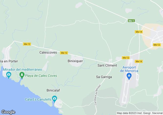 Map for Balearic Islands, Menorca, Binixica