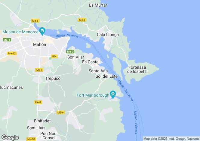 Map for Santa Ana, Menorca, Balearic Islands