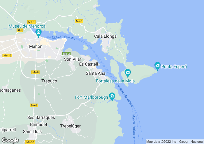 Map for Santa Ana, Menorca, Balearic Islands