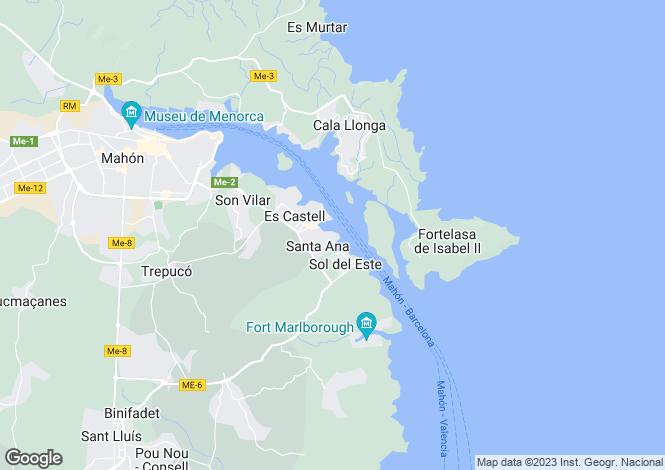 Map for Balearic Islands, Menorca, Villacarlos