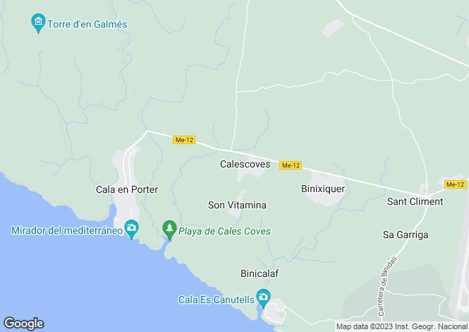 Map for Balearic Islands, Menorca, Alaior