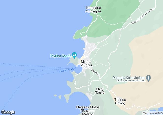 Map for Northern Aegean islands, Limnos, Myrina