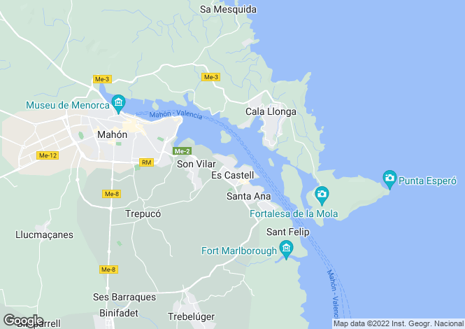 Map for Balearic Islands, Menorca, Es Castell