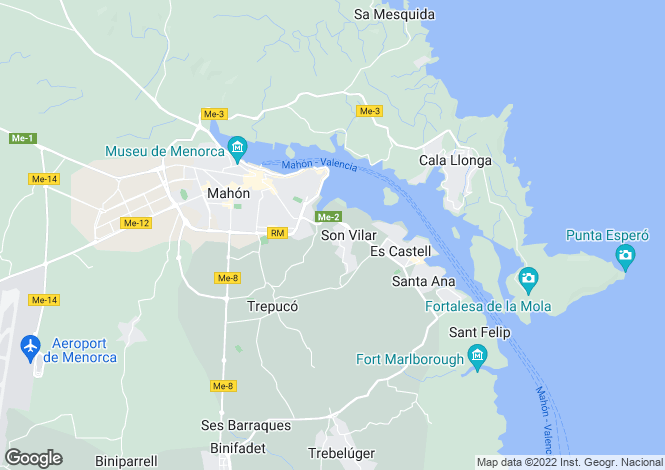 Map for Menorca, Mahón,
