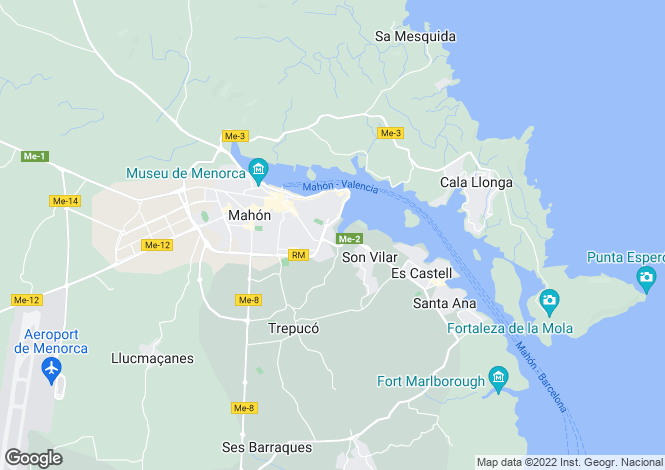 Map for Mahón, Mahón/Maó, Menorca