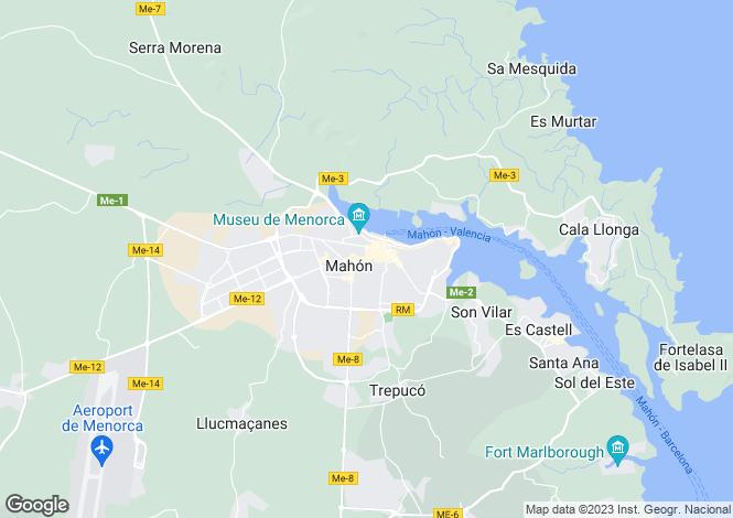 Map for Mahón, Menorca, Balearic Islands