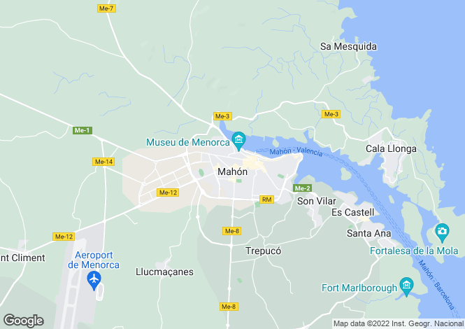 Map for Balearic Islands, Menorca, Mahón