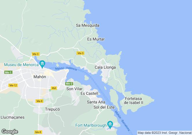 Map for Cala Llonga, Menorca, Balearic Islands