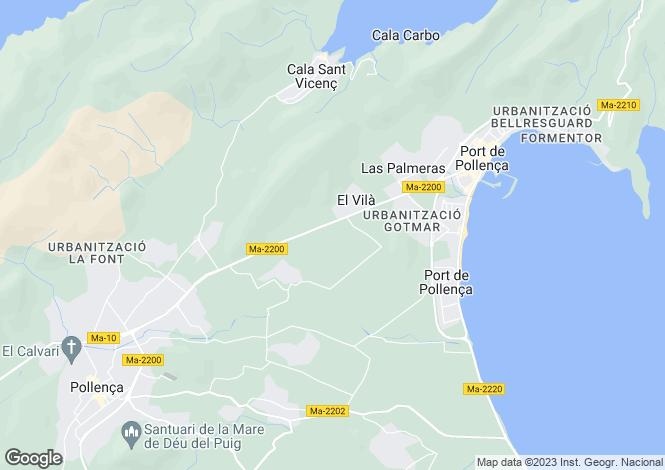 Map for Balearic Islands, Mallorca, Pollensa