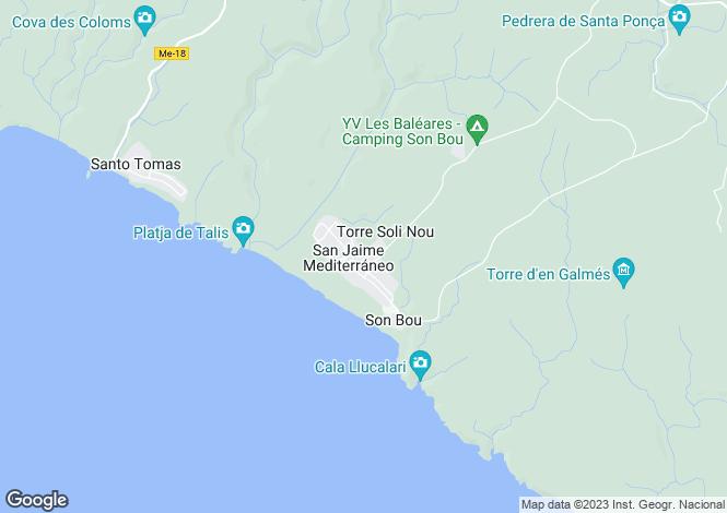 Map for Balearic Islands, Menorca, Son Bou