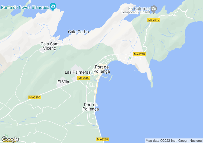 Map for Puerto Pollenca, Mallorca, Balearic Islands