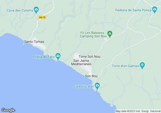 Map for Torre Soli Nou, Alaior, Menorca