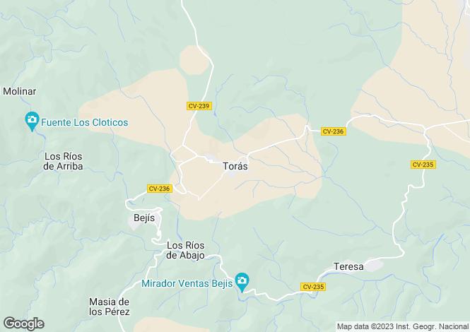 Map for Toras, Castellon, Spain