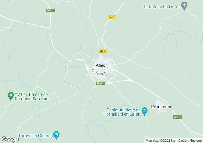 Map for Alaior, Menorca, Balearic Islands
