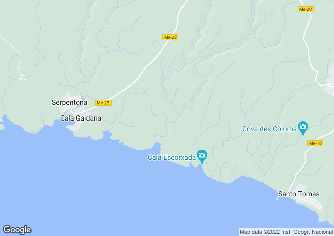 Map for Cala Santa Galdana, Menorca, Balearic Islands