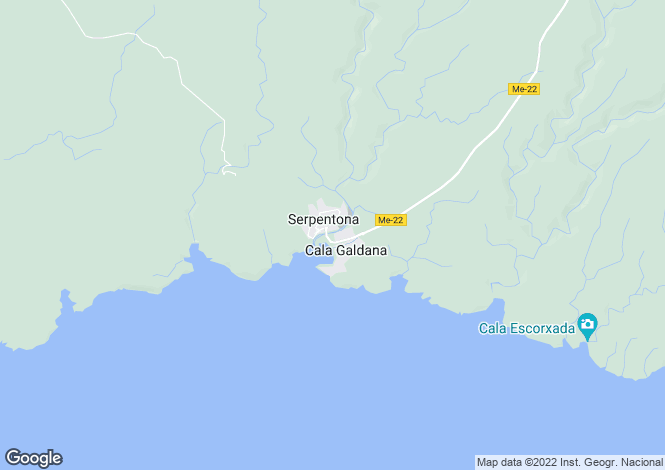 Map for Cala Santa Galdana, Menorca, Balearic Islands