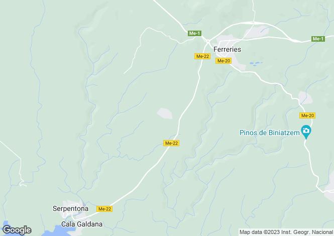 Map for Balearic Islands, Menorca, Ferreries