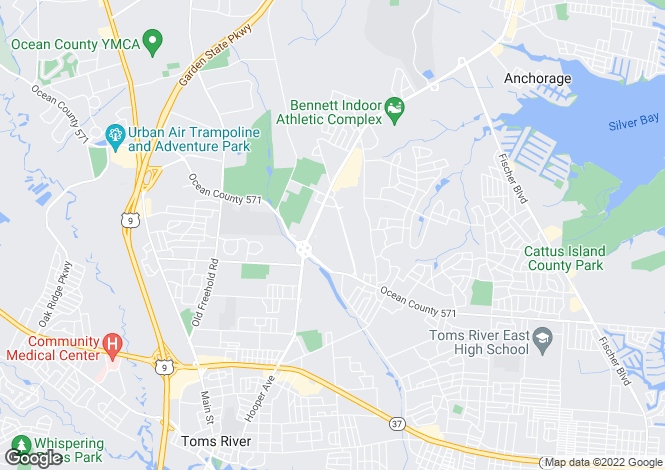 Map for USA - New Jersey, Ocean County, Toms River