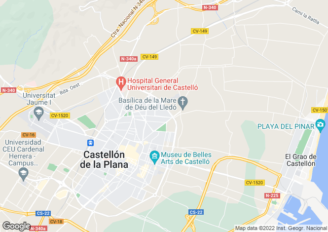 Map for Castellon de la Plana, Castellon (Costa del Azahar)