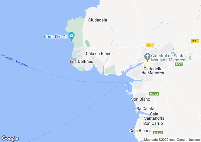 Map for Ciutadella de Menorca, Menorca, Balearic Islands