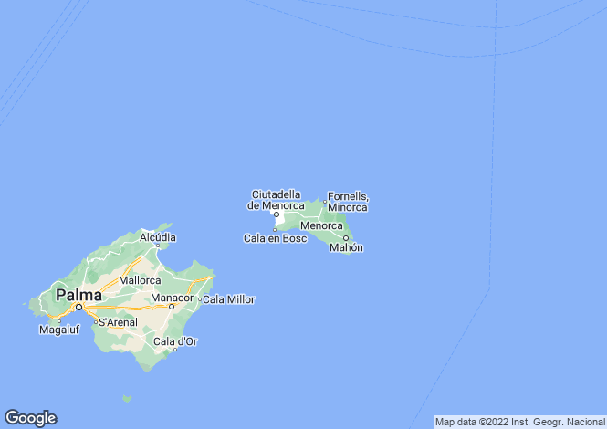 Map for Balearic Islands, Menorca
