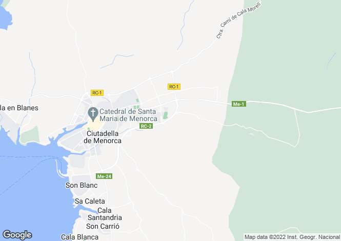Map for Menorca, Ciudadela,