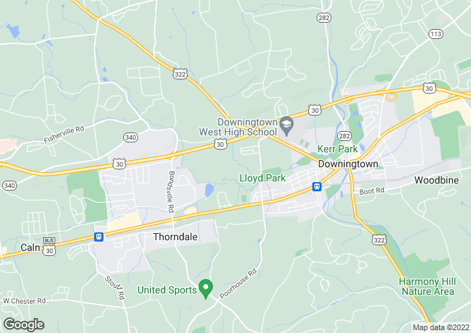 Map for USA - Pennsylvania, Chester County, Downingtown
