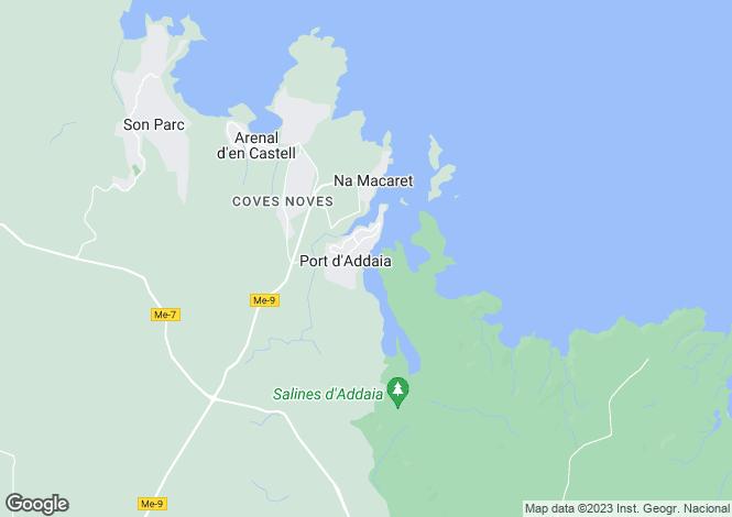 Map for Port d`Addia, Menorca, Balearic Islands
