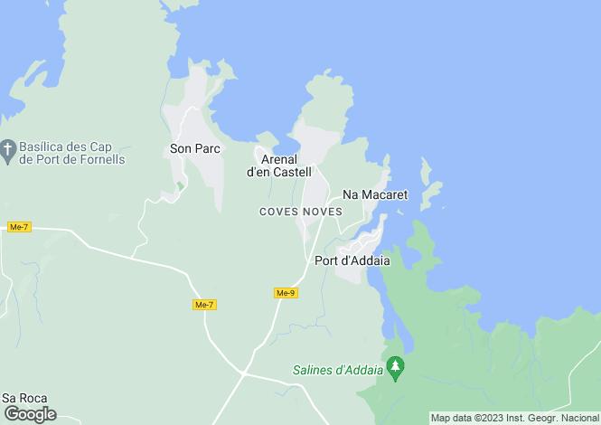 Map for Balearic Islands, Menorca, Coves Noves