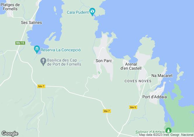 Map for Balearic Islands, Menorca, Son Parc