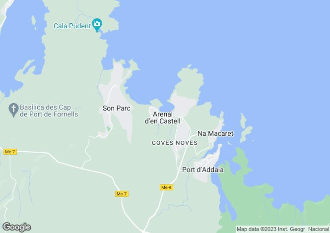Map for Arenal d'en Castell, Es Mercadal, Menorca