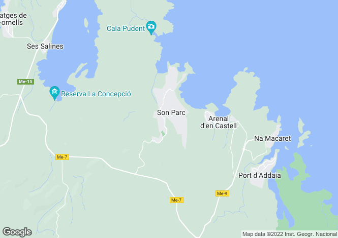 Map for Balearic Islands, Menorca, Mercadal
