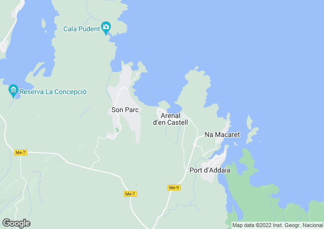 Map for Arenal d'en Castell, Es Mercadal, Menorca