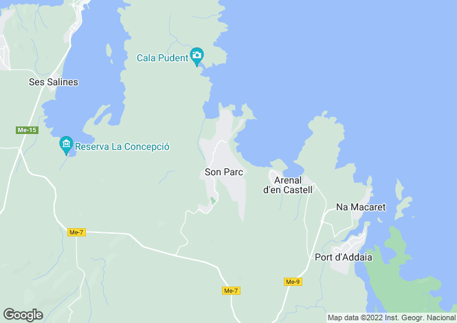 Map for Mercadal, Menorca, Balearic Islands