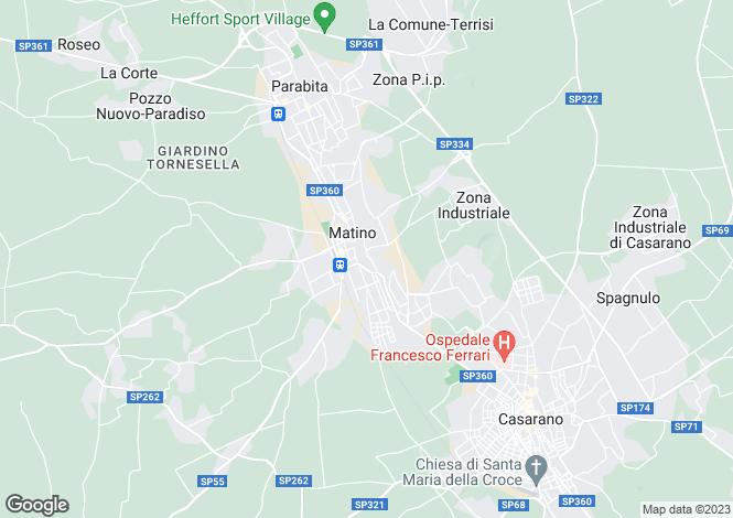 Map for Matino, Lecce, Apulia