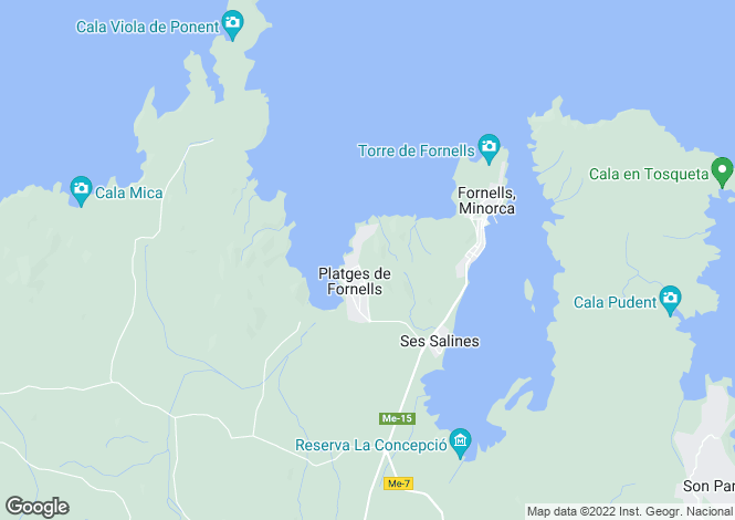 Map for Fornells, Menorca, Balearic Islands