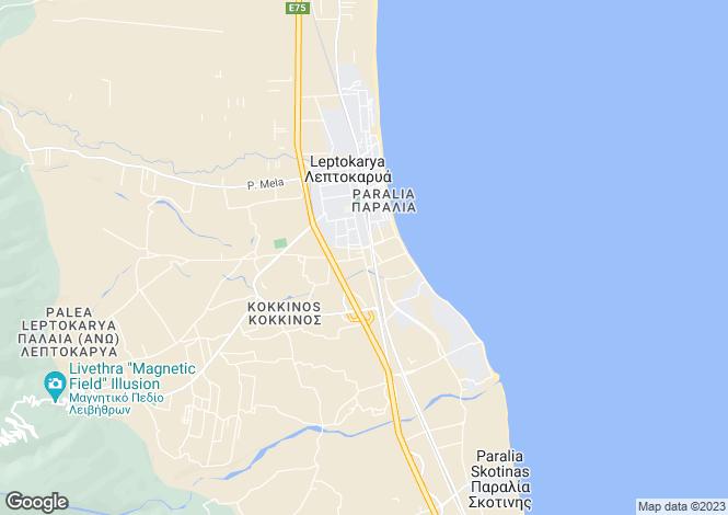 Map for Central Macedonia, Pieria, Leptokarya