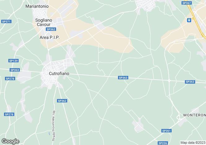 Map for SP363, Cutrofiano, Apulia