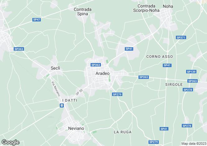 Map for Aradeo, Lecce, Apulia