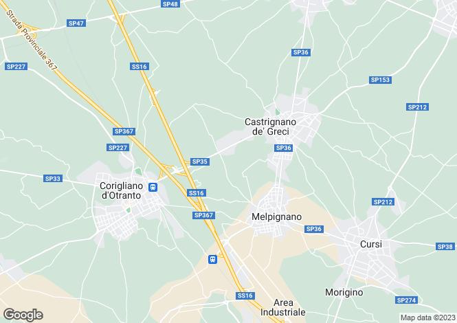 Map for SP35, Melpignano, Apulia