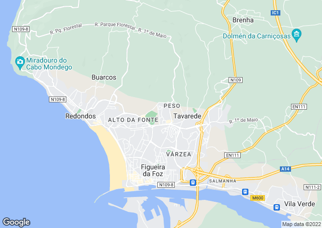 Map for Beira Litoral, Figueira da Foz