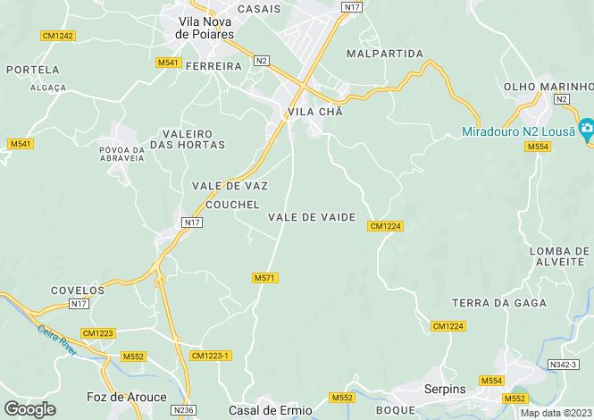 Map for Vila Nova de Poiares, Beira Litoral
