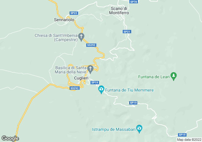 Map for Sardinia, Oristano, Cuglieri