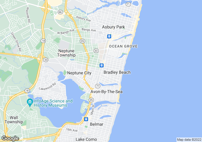 Map for USA - New Jersey, Monmouth County, Bradley Beach
