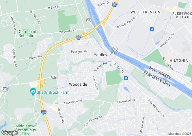 Map for Pennsylvania, Bucks County, Yardley