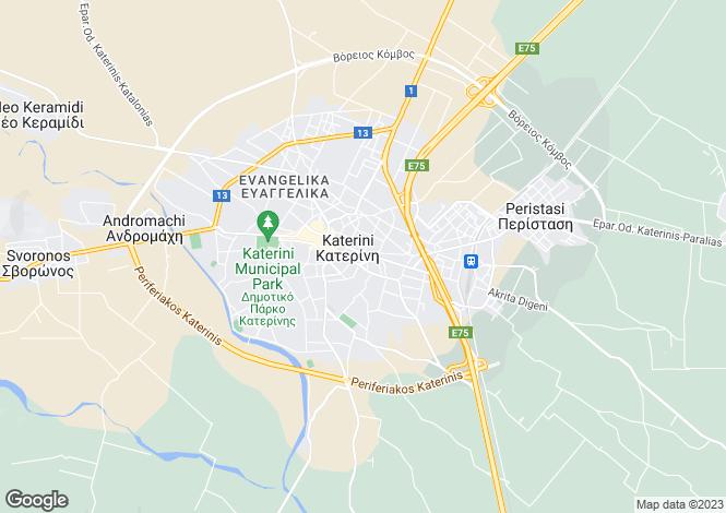 Map for Central Macedonia, Pieria, Katerini