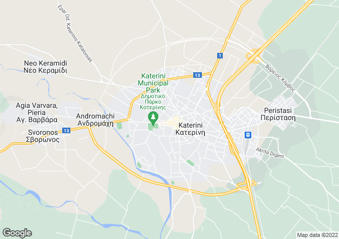 Map for Central Macedonia, Pieria, Katerini