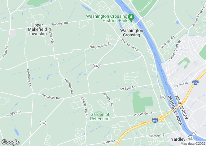 Map for New Jersey, Washington Crossing