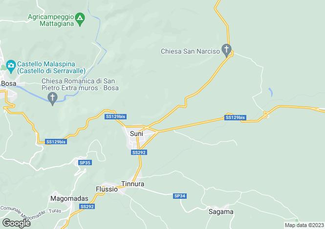 Map for Sardinia, Nuoro, Suni