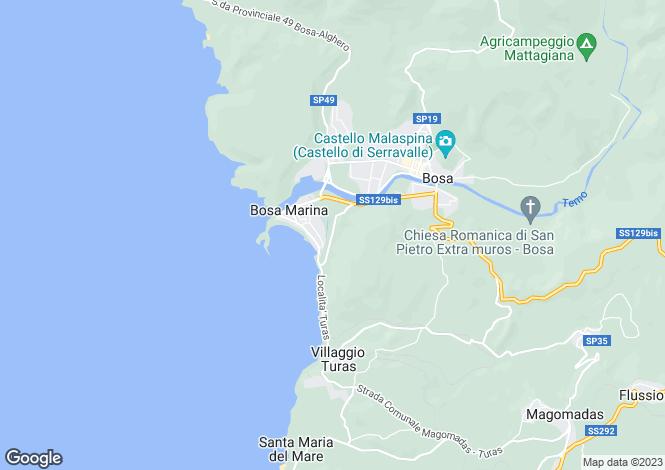 Map for Sardinia, Nuoro, Bosa Marina
